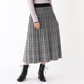 ジャカードプリーツニットスカート【WEB限定アイテム】 (ブラック)