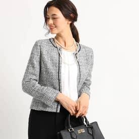 [S]【ママスーツ/入学式 スーツ/卒業式 スーツ】ネオブライトツイードジャケット (ブラック)