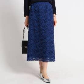 [S]【ハンドウォッシュ】サラサレースミモレスカート (ブルー)