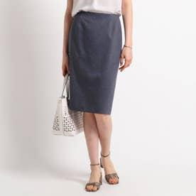 【ハンドウォッシュ】麻混ライトタイトスカート (ネイビー)