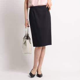 [L]【ハンドウォッシュ】麻混ライトタイトスカート (ブラック)