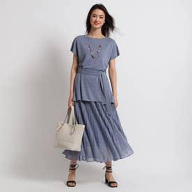 [S]【ハンドウォッシュ】ベルトニット×スカート ニットアップ (ブルー)