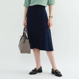 ◆【マシンウォッシュ】サテンクロス フロントボタンスカート (ネイビー)