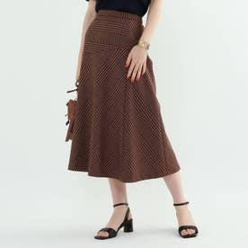 ◆【マシンウォッシュ】チェック柄アシメ切替スカート (ナチュラル)