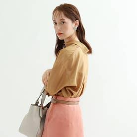 【マシンウォッシュ】グロスサテン7分袖シャツ (キャメル)