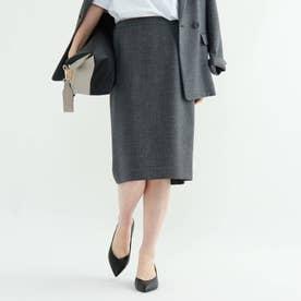 【マシンウォッシュ/UV/吸水速乾】ツムギートツイルバックスリットタイトスカート (ブラック)