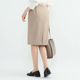 [L]【マシンウォッシュ/UV/吸水速乾】ツムギートツイルバックスリットタイトスカート (ベージュ)