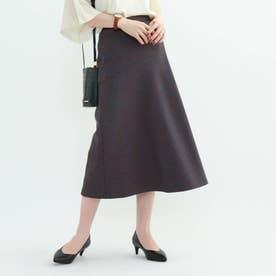 ◆【マシンウォッシュ】チェック柄アシメ切替スカート (ライトブルー)