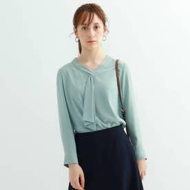 [S]【マシンウォッシュ】ボウタイ七分袖ブラウス (ライトグリーン)