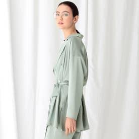 【WEB限定/マシンウォッシュ】テーラードシャツダブルジャケット (ライトグリーン)