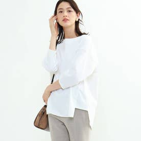 【洗える/7分袖】ブロードオーバーシャツ (ホワイト)