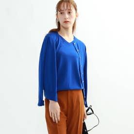 [S]【ハンドウォッシュ】クルーネックニットカーディガン (ブルー)