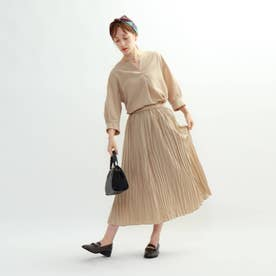 ◆[S]【マシンウォッシュ】袖デザインブラウス×ギャザースカート セットアップ (ベージュ)