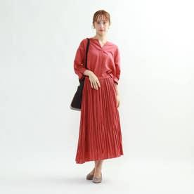 ◆[S]【マシンウォッシュ】袖デザインブラウス×ギャザースカート セットアップ (ラズベリーピンク)