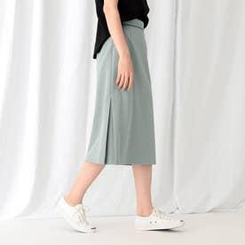 [L]【WEB限定/ハンドウォッシュ】マットクロス切り替えストレートスカート (グレー)