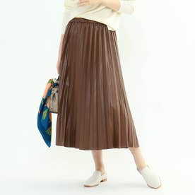 レザープリーツスカート (ブラウン)