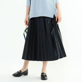レザープリーツスカート (ブラック)