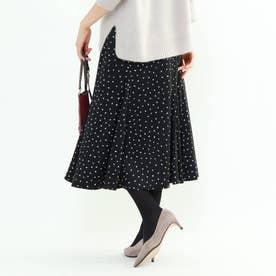 【マシンウォッシュ】ハンドペイント幾何柄スカート (ブラック)