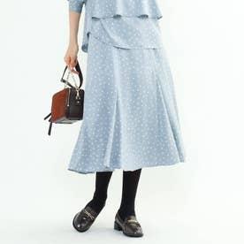 【マシンウォッシュ】ハンドペイント幾何柄スカート (ライトブルー)