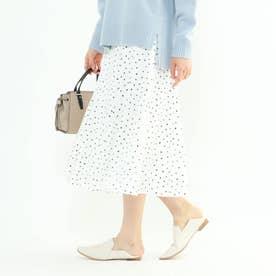 【マシンウォッシュ】ハンドペイント幾何柄スカート (ホワイト)