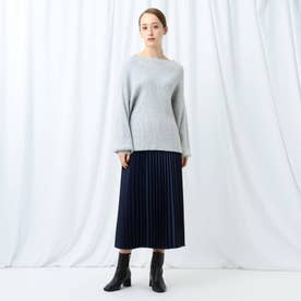 「S」【WEB限定】ニットトップス&布帛プリーツスカート ニットアップ (ライトグレー)