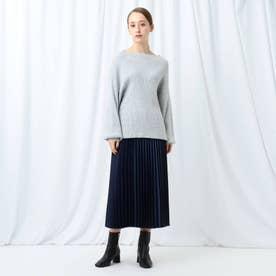 「L」【WEB限定】ニットトップス&布帛プリーツスカート ニットアップ (ライトグレー)