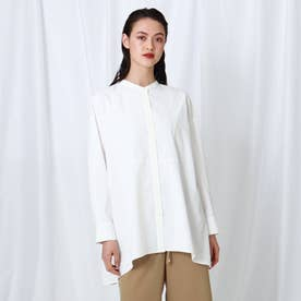 「L」【WEB限定】バンドカラーイレヘムシャツ (ホワイト)