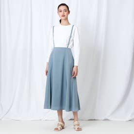 「S」【WEB限定】 レオパジャカードサス付きスカート (サックス)