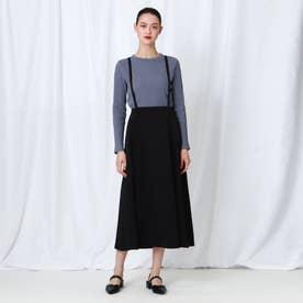 「S」【WEB限定】 レオパジャカードサス付きスカート (ブラック)