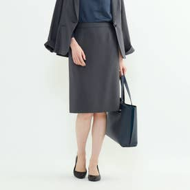 【洗える】トリアセテート混タイトスカート (チャコールグレー)