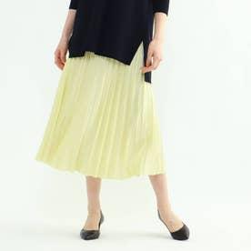 【WEB限定カラー】ドレープサテン切り替え風プリーツスカート (レモンイエロー)