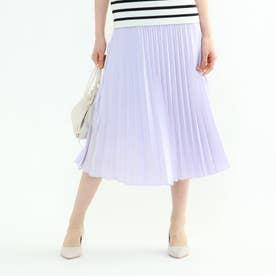 【WEB限定カラー】ドレープサテン切り替え風プリーツスカート (ライトパープル)