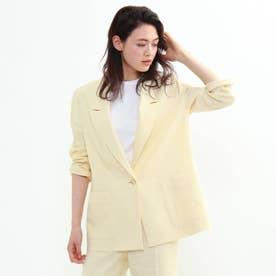 「L」リネン混オーバーデザインジャケット (レモンイエロー)
