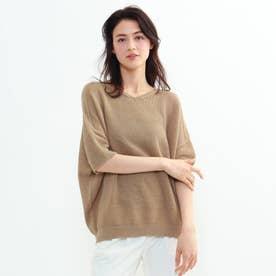 「L」タックカノコ編みコクーンプルオーバー (サンドベージュ)