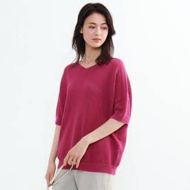 「L」タックカノコ編みコクーンプルオーバー (ロイヤルパープル)