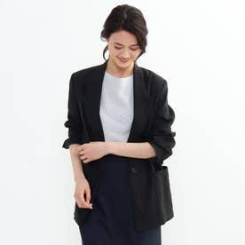 リネン混オーバーデザインジャケット (ブラック)