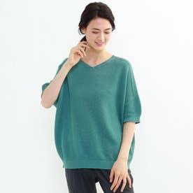 タックカノコ編みコクーンプルオーバー (グリーン)