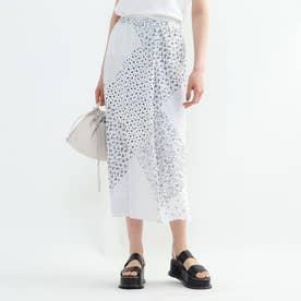 「L」モノパネルプリントスカート (ホワイト)