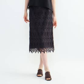 「L」スカラリーフタイトスカート (チャコールグレー)