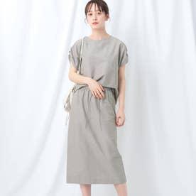 【WEB限定】肩タックスリーブ×タイトスカート セットアップ (グレージュ)