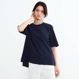 「L」リブつきTシャツ風ブラウス (ネイビー)