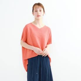 「S」エコペーパーヤーンガーター半袖プルオーバー (オレンジ)
