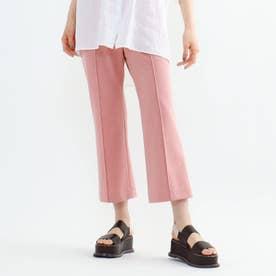 「L」【褒められパンツ/洗える】リネンライクストレッチセミフレアパンツ (ピンク)