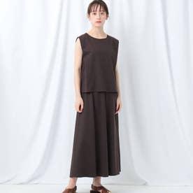 「L」【WEB限定】タックスリーブ×ロングスカート セットアップ (ダークブラウン)