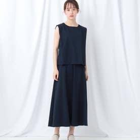「L」【WEB限定】タックスリーブ×ロングスカート セットアップ (ネイビー)