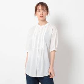 「L」【洗える/リラクシー】タックデザインコットンブラウス (ホワイト)