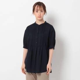 「S」コットン混タックバンドカラーシャツ (ネイビー)