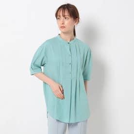 「S」コットン混タックバンドカラーシャツ (ライトグリーン)