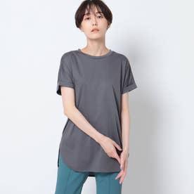 「L」【洗える/接触冷感】コットン ロールスリーブベーシックTシャツ (チャコールグレー)