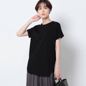 「L」【洗える/接触冷感】コットン ロールスリーブベーシックTシャツ (ブラック)